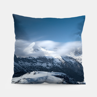 Thumbnail image of Clouds rolling above snowy mountains Pillow, Live Heroes