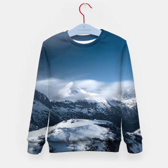Thumbnail image of Clouds rolling above snowy mountains Kid's sweater, Live Heroes