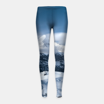 Thumbnail image of Clouds rolling above snowy mountains Girl's leggings, Live Heroes