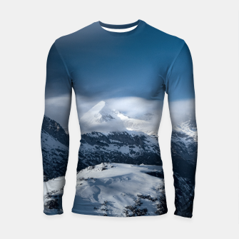 Thumbnail image of Clouds rolling above snowy mountains Longsleeve rashguard , Live Heroes