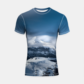 Thumbnail image of Clouds rolling above snowy mountains Shortsleeve rashguard, Live Heroes