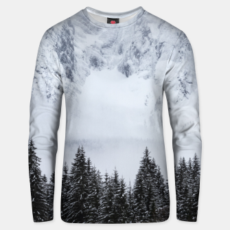 Thumbnail image of Snowy mountains and spruce forest Unisex sweater, Live Heroes