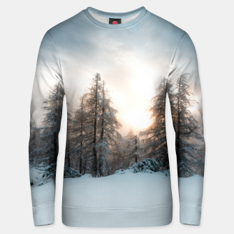 Thumbnail image of Sun behind spruce trees Unisex sweater, Live Heroes