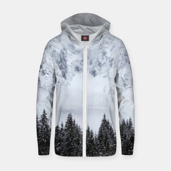 Miniature de image de Snowy mountains and spruce forest Zip up hoodie, Live Heroes