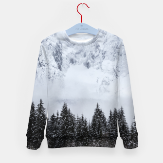 Miniaturka Snowy mountains and spruce forest Kid's sweater, Live Heroes