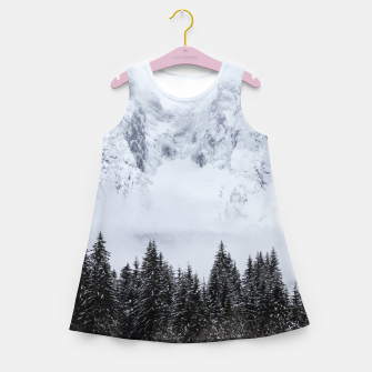 Miniaturka Snowy mountains and spruce forest Girl's summer dress, Live Heroes