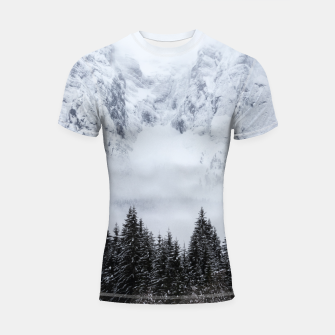 Miniaturka Snowy mountains and spruce forest Shortsleeve rashguard, Live Heroes