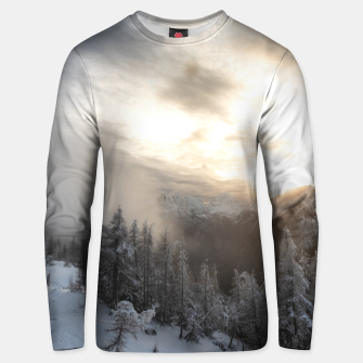 Thumbnail image of Sun shining at stunning winter scenery Unisex sweater, Live Heroes