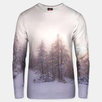 Thumbnail image of Sunlight and spruce forest Unisex sweater, Live Heroes