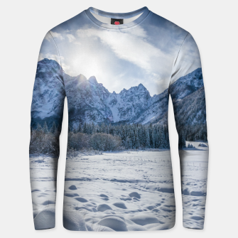 Thumbnail image of Sunny winter day at snowy frozen lake Fusine Unisex sweater, Live Heroes