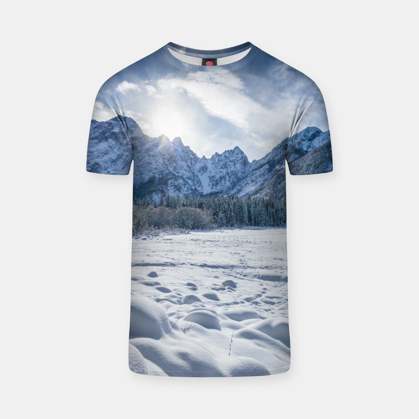 Image of Sunny winter day at snowy frozen lake Fusine T-shirt - Live Heroes