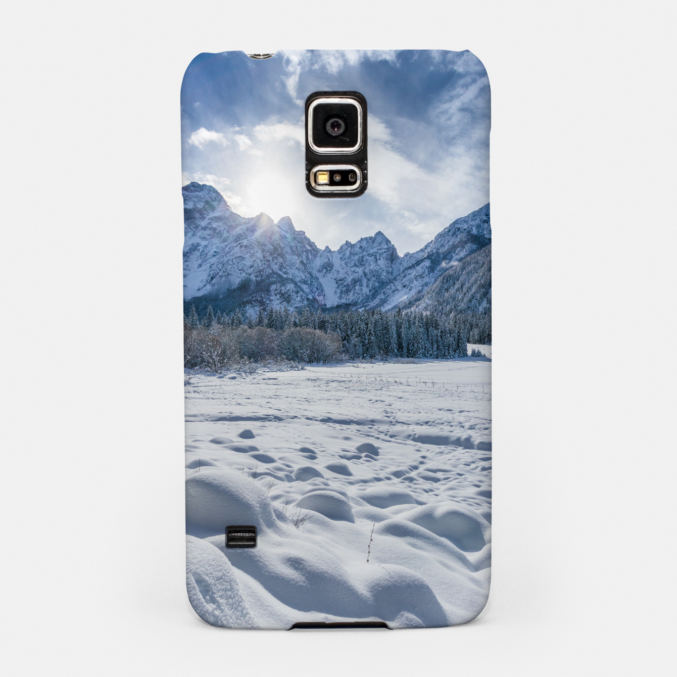 Image of Sunny winter day at snowy frozen lake Fusine Samsung Case - Live Heroes