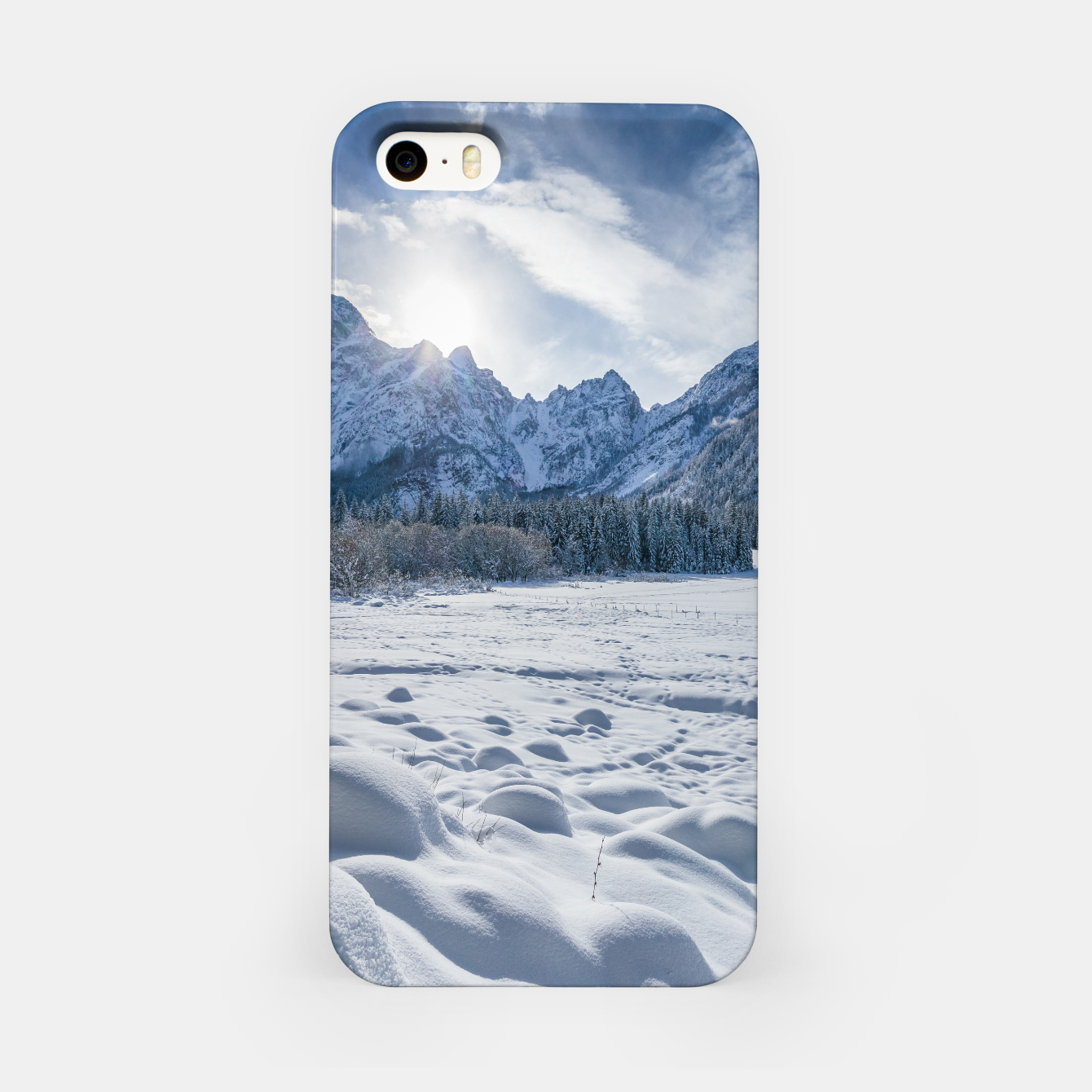 Image of Sunny winter day at snowy frozen lake Fusine iPhone Case - Live Heroes