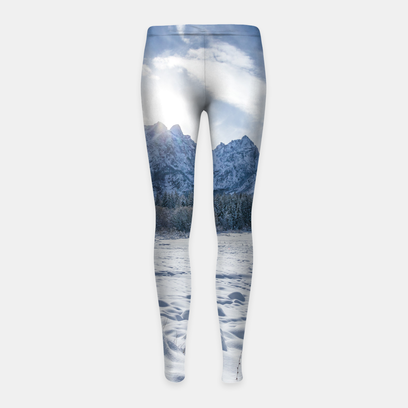 Image of Sunny winter day at snowy frozen lake Fusine Girl's leggings - Live Heroes