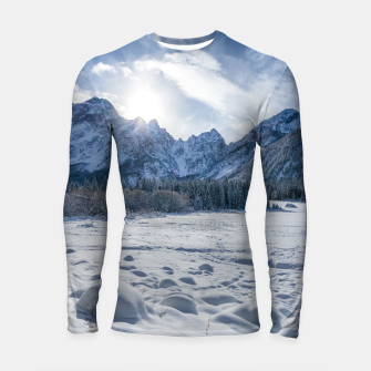 Thumbnail image of Sunny winter day at snowy frozen lake Fusine Longsleeve rashguard , Live Heroes