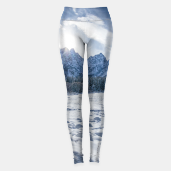 Miniature de image de Sunny winter day at snowy frozen lake Fusine Leggings, Live Heroes