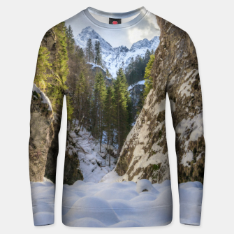 Miniatur Winter and spring valley and mountains Unisex sweater, Live Heroes