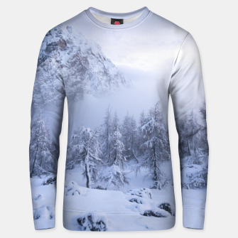 Miniatur Winter wonderland, fog, spruce forest and mountains Unisex sweater, Live Heroes