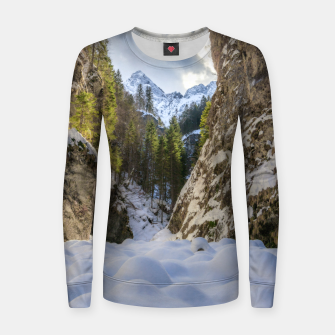 Miniatur Winter and spring valley and mountains Women sweater, Live Heroes