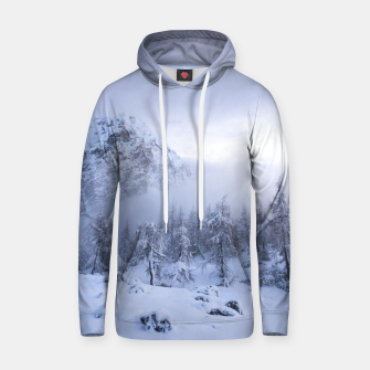 Miniatur Winter wonderland, fog, spruce forest and mountains Hoodie, Live Heroes
