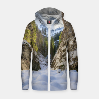 Miniatur Winter and spring valley and mountains Zip up hoodie, Live Heroes