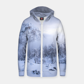 Miniatur Winter wonderland, fog, spruce forest and mountains Zip up hoodie, Live Heroes