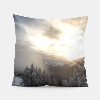 Thumbnail image of Sun shining at stunning winter scenery Pillow, Live Heroes
