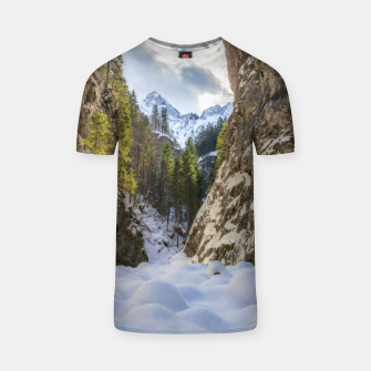 Miniatur Winter and spring valley and mountains T-shirt, Live Heroes
