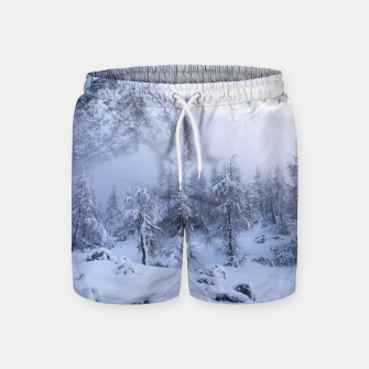 Miniature de image de Winter wonderland, fog, spruce forest and mountains Swim Shorts, Live Heroes