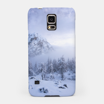 Miniature de image de Winter wonderland, fog, spruce forest and mountains Samsung Case, Live Heroes