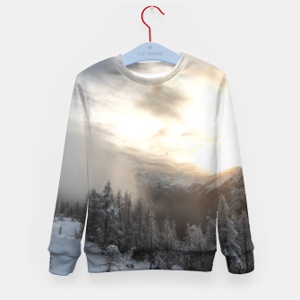 Thumbnail image of Sun shining at stunning winter scenery Kid's sweater, Live Heroes