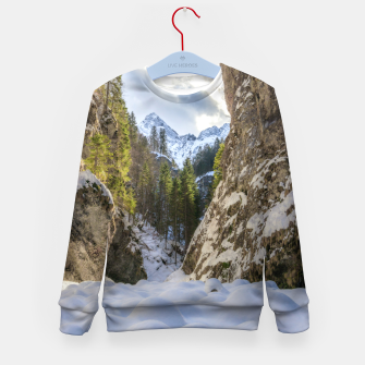 Miniatur Winter and spring valley and mountains Kid's sweater, Live Heroes