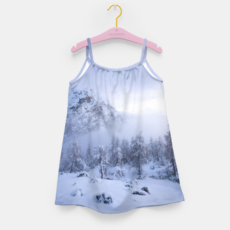 Miniaturka Winter wonderland, fog, spruce forest and mountains Girl's dress, Live Heroes