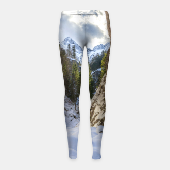Miniatur Winter and spring valley and mountains Girl's leggings, Live Heroes