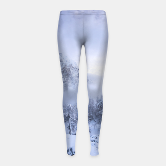 Miniaturka Winter wonderland, fog, spruce forest and mountains Girl's leggings, Live Heroes