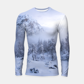 Thumbnail image of Winter wonderland, fog, spruce forest and mountains Longsleeve rashguard , Live Heroes