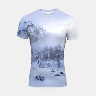 Miniatur Winter wonderland, fog, spruce forest and mountains Shortsleeve rashguard, Live Heroes