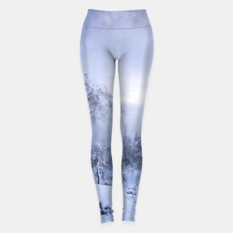 Miniaturka Winter wonderland, fog, spruce forest and mountains Leggings, Live Heroes