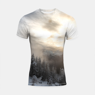 Thumbnail image of Sun shining at stunning winter scenery Shortsleeve rashguard, Live Heroes
