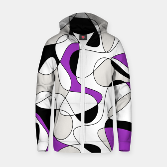 Thumbnail image of Abstract pattern - purple, gray, black and white. Zip up hoodie, Live Heroes