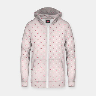 Miniature de image de Sweet cherries and polka dots in pink Zip up hoodie, Live Heroes