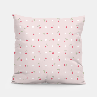 Thumbnail image of Sweet cherries and polka dots in pink Pillow, Live Heroes