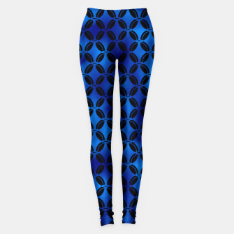 Thumbnail image of 4 Leaf Quatrefoils in Black and Classic Blue Vintage Faux Foil Art Deco Vintage Foil Pattern Leggings, Live Heroes