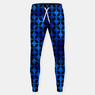 Miniaturka 4 Leaf Quatrefoils in Black and Classic Blue Vintage Faux Foil Art Deco Vintage Foil Pattern Sweatpants, Live Heroes