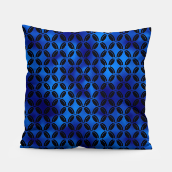 Thumbnail image of 4 Leaf Quatrefoils in Black and Classic Blue Vintage Faux Foil Art Deco Vintage Foil Pattern Pillow, Live Heroes