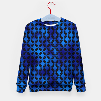 Miniaturka 4 Leaf Quatrefoils in Black and Classic Blue Vintage Faux Foil Art Deco Vintage Foil Pattern Kid's sweater, Live Heroes