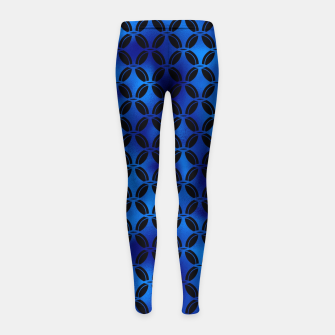 Thumbnail image of 4 Leaf Quatrefoils in Black and Classic Blue Vintage Faux Foil Art Deco Vintage Foil Pattern Girl's leggings, Live Heroes