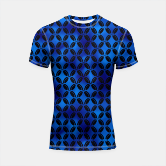 Thumbnail image of 4 Leaf Quatrefoils in Black and Classic Blue Vintage Faux Foil Art Deco Vintage Foil Pattern Shortsleeve rashguard, Live Heroes