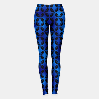 Miniature de image de 4 Leaf Quatrefoils in Black and Classic Blue Vintage Faux Foil Art Deco Vintage Foil Pattern Leggings, Live Heroes