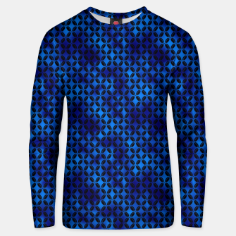 Miniaturka 4 Leaf Quatrefoils in Black and Classic Blue Vintage Faux Foil Art Deco Vintage Foil Pattern Unisex sweater, Live Heroes